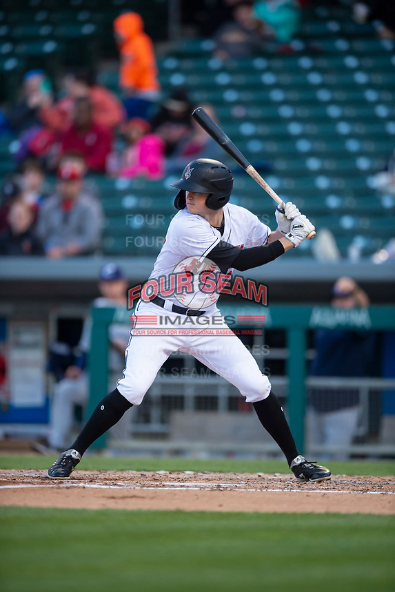 Indianapolis Indians designated hitter Erich Weiss (27) during an International League game against the Columbus Clippers on April 29, 2019 at Victory Field in Indianapolis, Indiana. Indianapolis defeated Columbus 5-3. (Zachary Lucy/Four Seam Images)