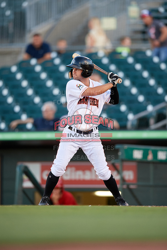Jupiter Hammerheads center fielder Aaron Knapp (7) at bat during a game against the Palm Beach Cardinals on August 4, 2018 at Roger Dean Chevrolet Stadium in Jupiter, Florida.  Palm Beach defeated Jupiter 7-6.  (Mike Janes/Four Seam Images)