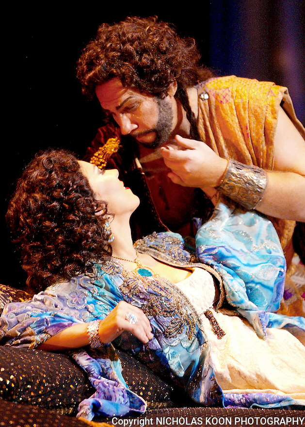2005 - SAMSON AND DELILAH - Milena Kitic as Delilah and Allan Glassman as Samson in Opera Pacific's production of Samson and Delilah.