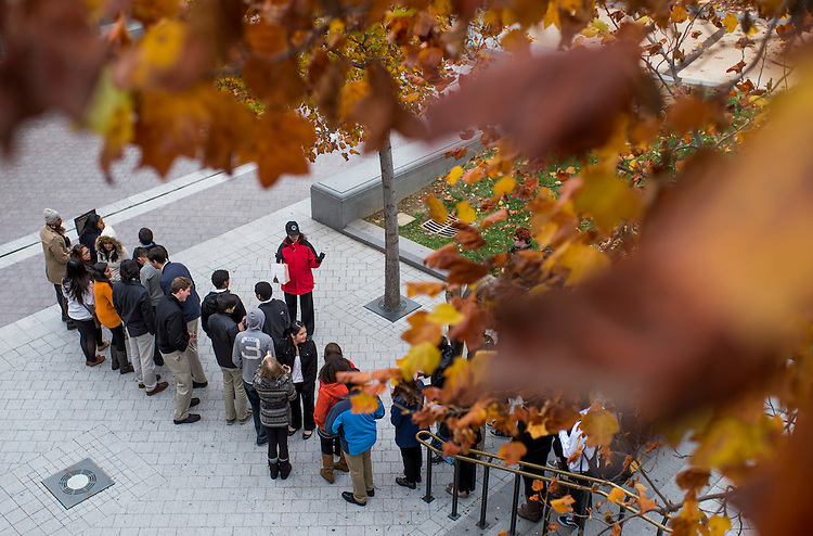 UNITED STATES - NOVEMBER 12: Chilly tourists get briefed by a Capitol Visitor Center worker under a canopy of all leaves before entering the U.S. Capitol for their tour on Tuesday, Nov. 12, 2013. (Photo By Bill Clark/CQ Roll Call)