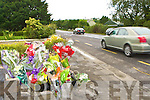 Floral tributes which have been left by Monday at the site of the crash that killed two Castleisland men last Thursday