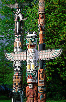 Totem Poles in Stanley Park on Vancouver Island