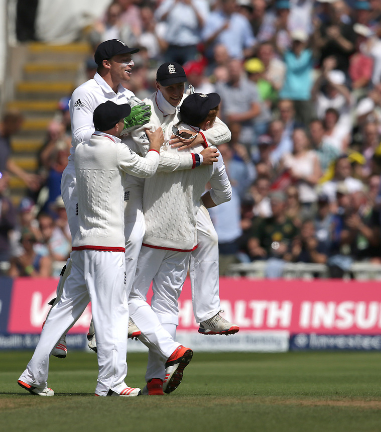 England's Joe Root celebrates his catch taking the wicket of Australia's Josh Hazlewood - JR Hazlewood	c Root b Stokes  11<br /> <br /> Photographer Stephen White/CameraSport<br /> <br /> International Cricket - Investec Ashes Test Series 2015 - Third Test - England v Australia - Day 3 - Friday 31st July 2015 - Edgbaston - Birmingham <br /> <br /> &copy; CameraSport - 43 Linden Ave. Countesthorpe. Leicester. England. LE8 5PG - Tel: +44 (0) 116 277 4147 - admin@camerasport.com - www.camerasport.com