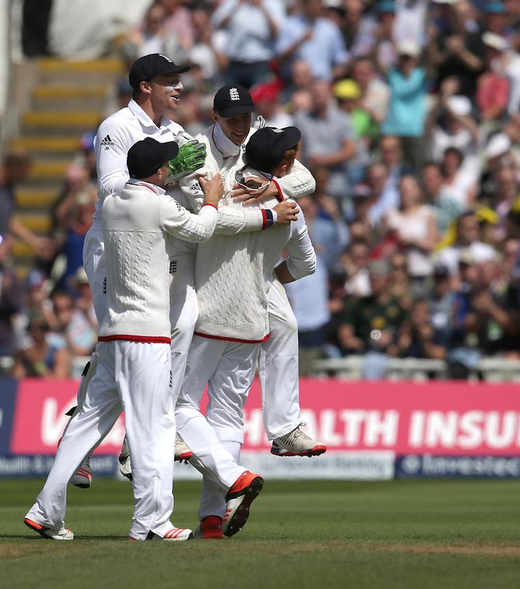 England's Joe Root celebrates his catch taking the wicket of Australia's Josh Hazlewood - JR Hazlewoodc Root b Stokes  11<br /> <br /> Photographer Stephen White/CameraSport<br /> <br /> International Cricket - Investec Ashes Test Series 2015 - Third Test - England v Australia - Day 3 - Friday 31st July 2015 - Edgbaston - Birmingham <br /> <br /> &copy; CameraSport - 43 Linden Ave. Countesthorpe. Leicester. England. LE8 5PG - Tel: +44 (0) 116 277 4147 - admin@camerasport.com - www.camerasport.com