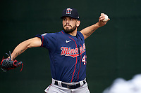 Minnesota Twins pitcher Lewis Thorpe (43) during a Spring Training practice on February 20, 2020 at Hammond Stadium in Fort Myers, Florida.  (Mike Janes/Four Seam Images)