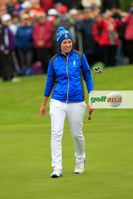 Carlota Ciganda (EUR) on the 1st green during Day 3 Singles at the Solheim Cup 2019, Gleneagles Golf CLub, Auchterarder, Perthshire, Scotland. 15/09/2019.<br /> Picture Thos Caffrey / Golffile.ie<br /> <br /> All photo usage must carry mandatory copyright credit (© Golffile   Thos Caffrey)
