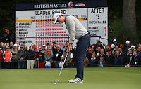 Niall Kearney (IRL) putting out on the 16th hole during the Final Round of the British Masters 2015 supported by SkySports played on the Marquess Course at Woburn Golf Club, Little Brickhill, Milton Keynes, England.  11/10/2015. Picture: Golffile | David Lloyd<br /> <br /> All photos usage must carry mandatory copyright credit (&copy; Golffile | David Lloyd)