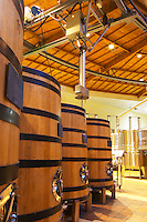 The winery with wooden fermentation vats. It is built in a circular design and made from chestnut wood to fight insects, Maison Louis Jadot, Beaune Côte Cote d Or Bourgogne Burgundy Burgundian France French Europe European