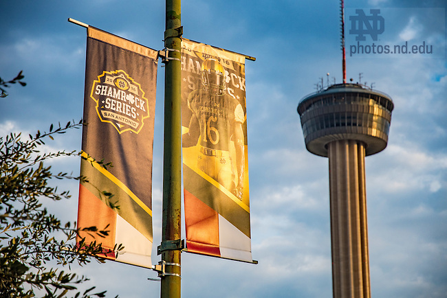 November 10, 2016; Shamrock Series signage in downtown San Antonio, Texas (Photo by Matt Cashore/University of Notre Dame)