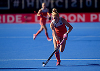 Netherlands' Margot van Geffen with the ball<br /> <br /> Photographer Hannah Fountain/CameraSport<br /> <br /> Vitality Hockey Women's World Cup - Netherlands v Ireland - Sunday 5th August 2018 - Lee Valley Hockey and Tennis Centre - Stratford<br /> <br /> World Copyright &copy; 2018 CameraSport. All rights reserved. 43 Linden Ave. Countesthorpe. Leicester. England. LE8 5PG - Tel: +44 (0) 116 277 4147 - admin@camerasport.com - www.camerasport.com