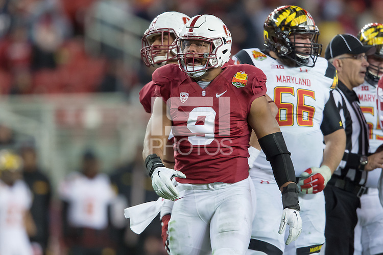 SANTA CLARA, CA - DECEMBER 30, 2014: James Vaughters celebrates during Stanford's game against Maryland in the 2014 Foster Farms Bowl.  The Cardinal defeated the Terrapins 45-21.