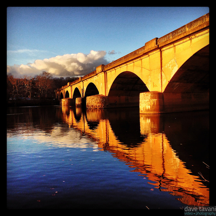 The Columbia Bridge reflects in the Schuylkill River along Kelly Drive in Philadelphia December 18, 2012.