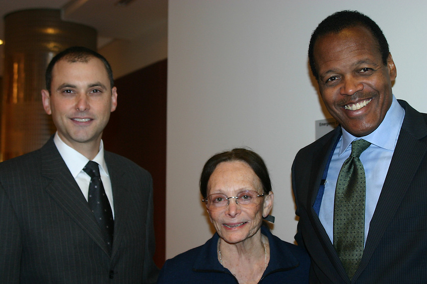 Josh Polster (left), Irma Mann Stearns, and Lee Pelton at the Irma Mann Stearns faculty award November 2011