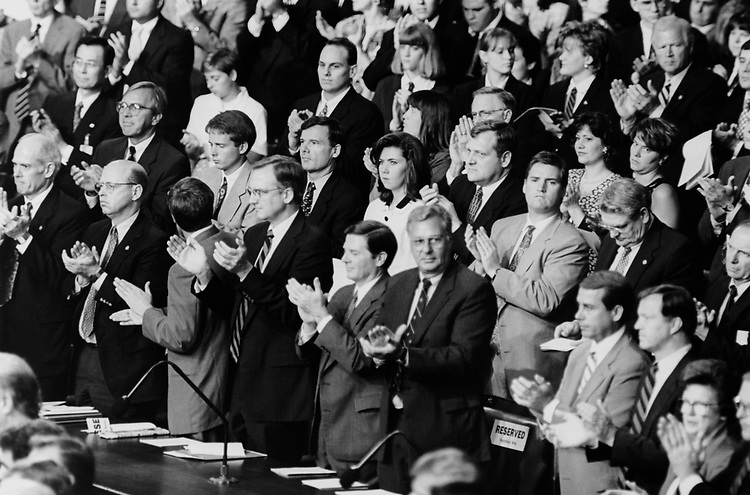 Republican members in House Chamber applaud for Korean President Kim Young-Sam on July 27, 1995. (Photo by Laura Patterson/CQ Roll Call via Getty Images)