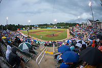 A crowd of 3.709 fans braved the rain to see Independence Day fireworks following the South Atlantic League game between the Delmarva Shorebirds and the Kannapolis Intimidators at Kannapolis Intimidators Stadium on July 3, 2017 in Kannapolis, North Carolina.  The Shorebirds defeated the Intimidators 5-2.  (Brian Westerholt/Four Seam Images)