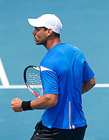 ALEJANDRO FALLA (COL) against MARDY FISH (USA) in the second round of the Men's Singles. Alejandro Falla beat Mardy Fish 7-6 6-3 7-6..18/01/2012, 18th January 2012, 18.01.2012..The Australian Open, Melbourne Park, Melbourne,Victoria, Australia.@AMN IMAGES, Frey, Advantage Media Network, 30, Cleveland Street, London, W1T 4JD .Tel - +44 208 947 0100..email - mfrey@advantagemedianet.com..www.amnimages.photoshelter.com.