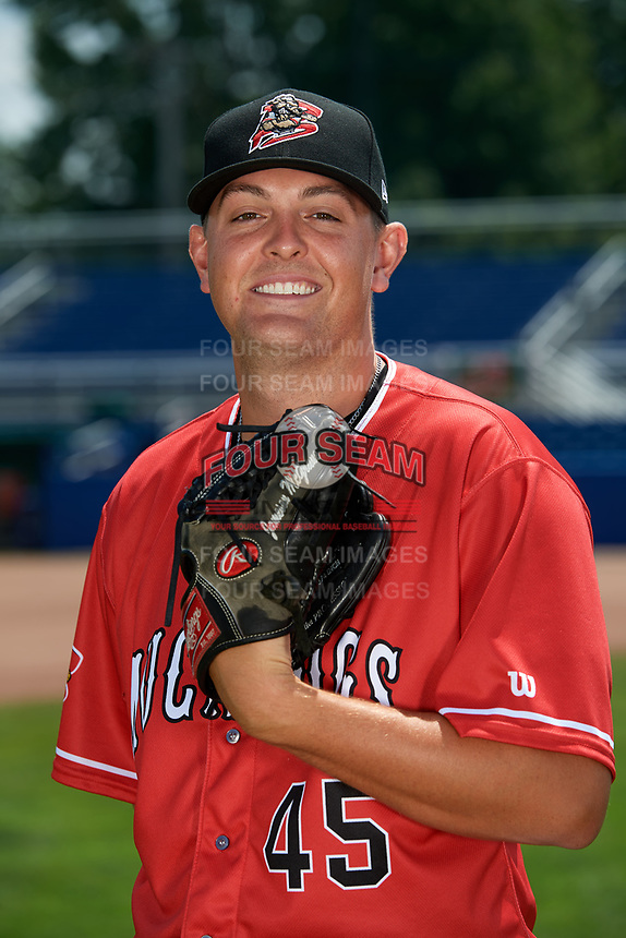 Batavia Muckdogs pitcher Jameson McGrane (45) poses for a photo on July 2, 2018 at Dwyer Stadium in Batavia, New York.  (Mike Janes/Four Seam Images)