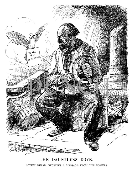 The Dauntless Dove. Soviet Russia receives a message from the powers. (cartoon showing Russia sitting on the destroyed imperial pillars with its Marx hammer and sickle as a Peace Pact Invitation is flown in by a dove during the InterWar era)