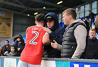 Lewis Coyle of Fleetwood Town consolidates Fleetwood fans after the Sky Bet League 1 match between Shrewsbury Town and Fleetwood Town at Greenhous Meadow, Shrewsbury, England on 21 October 2017. Photo by Leila Coker / PRiME Media Images.