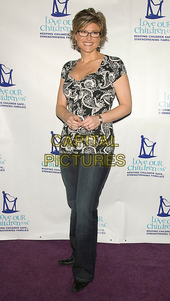 ASHLEIGH BANFIELD.Love Our Children USA's Fifth Annual National Love Our Children Day.at Spotlight Live, New York, NY, USA, .April 5, 2008..full length black and white print patterned top glasses.CAP/LNC/TOM.©LNC/Capital Pictures