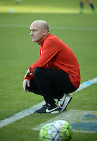 Kansas City, Kansas - Saturday April 16, 2016: Western New York Flash head coach Paul Riley watches before the game against FC Kansas City at Children's Mercy Park. Western New York won 1-0.