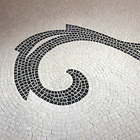 Mosaic art detail custom Horse rug in Botticino and Nero Marquina marble