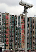 CCTV cameras monitor citizens in China's southern city of  Shenzhen.  shenzhen is the tsting gound for an new all encompassing surveillance system known as Golden Shield.<br /> <br /> photo by richard jones