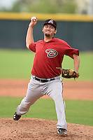 Arizona Diamondbacks pitcher Andrew Potter (18) during an Instructional League game against the Colorado Rockies on October 8, 2014 at Salt River Fields at Talking Stick in Scottsdale, Arizona.  (Mike Janes/Four Seam Images)