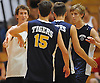 Bret McLean #3 of Northport (white jersey), left, and teammates celebrate after a scoring a point in the round-robin portion of a Suffolk County varsity boys volleyball tournament match against Connetquot at Northport High School on Saturday, Sept. 10, 2016.