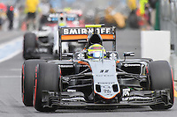 March 19, 2016: Sergio Perez (MEX) #11 from the Sahara Force India F1 team leaving the pits for qualifying at the 2016 Australian Formula One Grand Prix at Albert Park, Melbourne, Australia. Photo Sydney Low