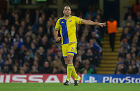 Tal Ben Haim I(former Chelsea player) of Maccabi Tel Aviv gives instructions during the UEFA Champions League match between Chelsea and Maccabi Tel Aviv at Stamford Bridge, London, England on 16 September 2015. Photo by Andy Rowland.