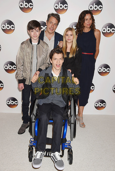 BEVERLY HILLS, CA - AUGUST 04: (L-R) Actors Mason Cook, John Ross Bowie, Micah Fowler, Kyla Kenedy and Minnie Driver arrive at the Disney ABC Television Group TCA Summer Press Tour at the Beverly Hilton Hotel on August 4, 2016 in Beverly Hills, California.<br /> CAP/ROT/TM<br /> &copy;TM/ROT/Capital Pictures