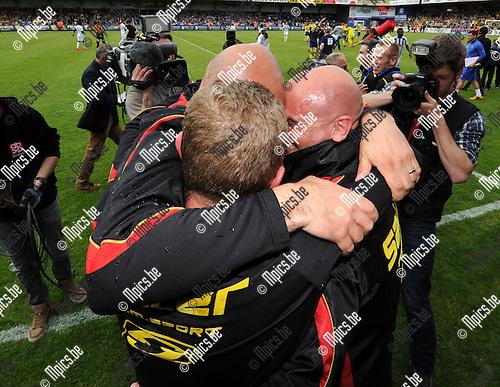 2014-04-27 / Voetbal / seizoen 2013-2014 / KVC Westerlo kampioen in tweede klasse /  Emoties bij Dennis van Wijk (r.)<br /><br />Foto: mpics.be