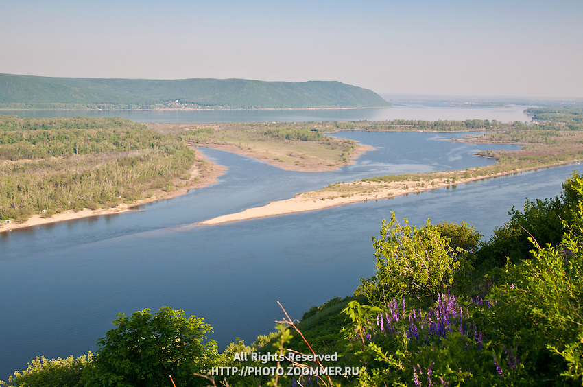Panorama of the Volga river, Zhiguli mountains and Zelenenky island
