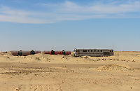 EGYPT, western desert, railway line Cairo to Bahariya Oasis, used for iron ore and fuel transport