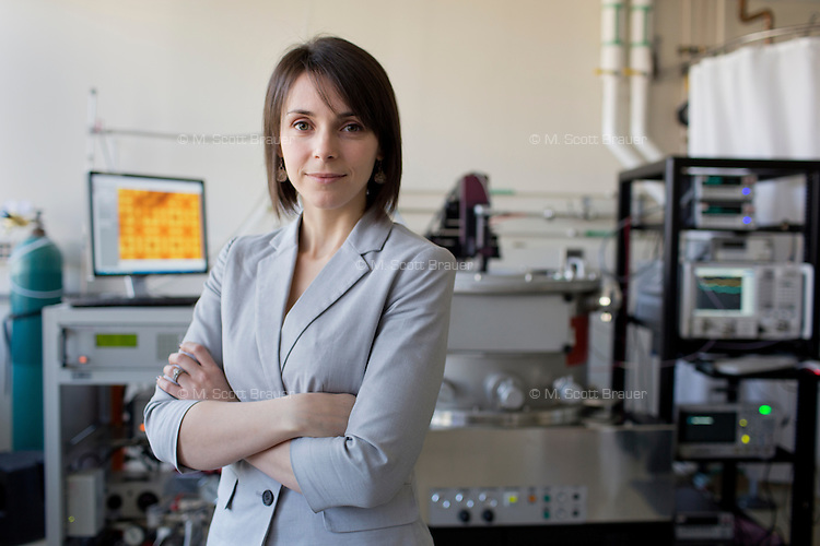 Graduate student Laura Popa and Associate Professor Dana Weinstein (pictured) have developed a Gallium Nitride Millimeter Wave Integrade Circuit (MMIC) in the Microsystems Technology Laboratories in the Department of Electrical Engineering and Computer Science at MIT in Cambridge, Massachusetts, USA.  The chip they developed allows fast switching between frequencies in communications technology such as cell phones.