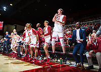 STANFORD, CA - January 26, 2019: Dick Gould, Esayas Habtemariam, Keenan Fitzmorris, Sam Beskind, Rodney Herenton, Trevor Stanback, Kodye Pugh, Isaac White, Josh Sharma, Lukas Kisunas, Jesse Pruitt at Maples Pavilion. The Stanford Cardinal defeated the Colorado Buffaloes 75-62.