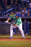 Tulsa Drillers pinch hitter Chase De Jong (34) lays down a bunt during a game against the Arkansas Travelers on April 28, 2016 at ONEOK Field in Tulsa, Oklahoma.  Tulsa defeated Arkansas 5-4.  (Mike Janes/Four Seam Images)