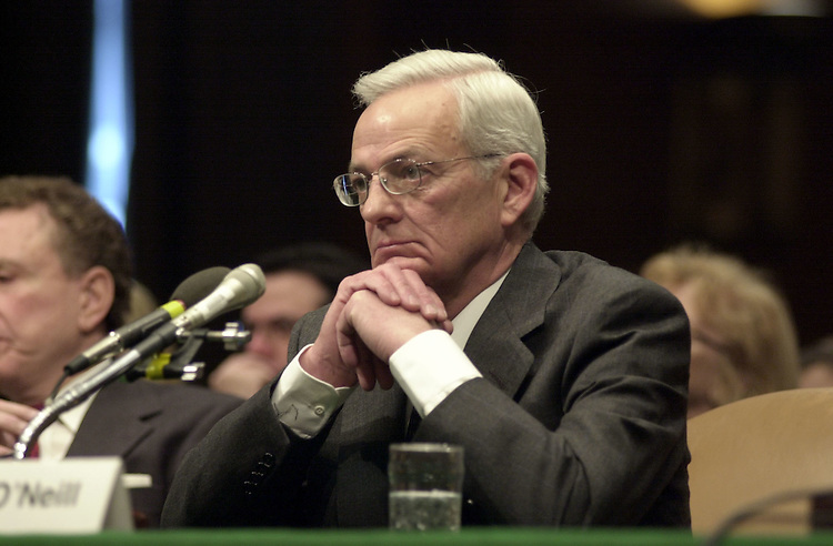 2O'Neil011701 -- Paul H. O'Neil, nominee for Treasury Secretary during his conformation hearing before the Senate Finance Committee.