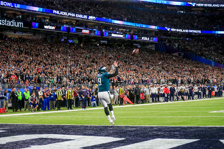 PHILLY SPECIAL —Philadelphia Eagles quarterback Nick Foles (9) catches a pass for a touchdown in the second quarter of Super Bowl 52 between the Eagles and the New England Patriots on Sunday, Feb. 4, 2018 in Minneapolis. photo by Andrew Mills | NJ Advance Media
