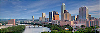 This panorama of the capitol city of Texas shows Austin on a calm morning in April. The most prominent high rises include the Austonian (the tallest), the 360 Condos, and the Springs Condos. Known to locals as Town Lake, the waters of Ladybird Lake flow just south of downtown.