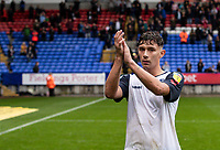 Bolton Wanderers' Eddie Brown acknowledges the applause from the crowd at the end of the match<br /> <br /> Photographer Andrew Kearns/CameraSport<br /> <br /> The EFL Sky Bet Championship - Bolton Wanderers v Coventry City - Saturday 10th August 2019 - University of Bolton Stadium - Bolton<br /> <br /> World Copyright © 2019 CameraSport. All rights reserved. 43 Linden Ave. Countesthorpe. Leicester. England. LE8 5PG - Tel: +44 (0) 116 277 4147 - admin@camerasport.com - www.camerasport.com