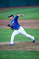 Wes Helsabeck (27) of the Ogden Raptors delivers a pitch during a game against the Idaho Falls Chukars at Lindquist Field on August 29, 2018 in Ogden, Utah. Idaho Falls defeated Ogden 15-6. (Stephen Smith/Four Seam Images)