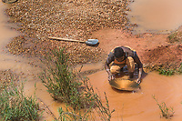 Africa, Madagascar, Ilhorombe region, Ilakaka. One of the world's largest known alluvial sapphire deposits discovered in 1998. People panning for precious minerals.