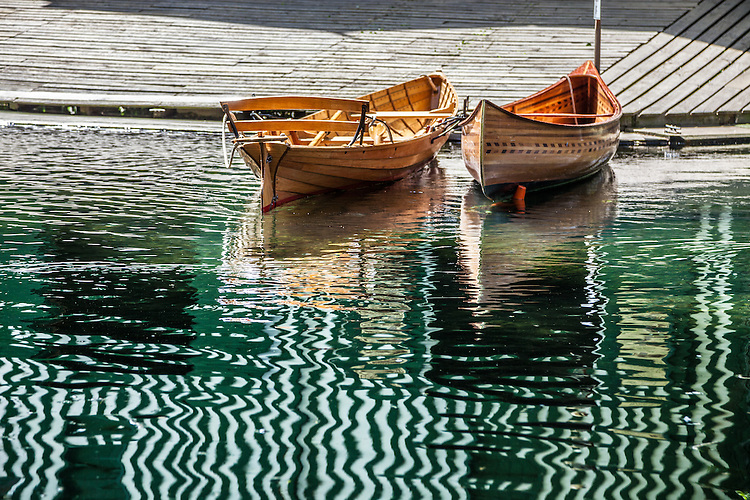 Wooden boats at Antigua Boat Sheds, Christchurch, New Zealand - stock photo, canvas, fine art print
