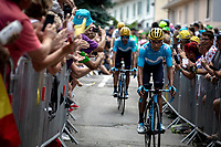 Nairo Quintana (COL/Movistar) and teammates on their way to the pre stage sign on. <br /> <br /> Stage 19: Saint-Jean-de-Maurienne to Tignes (126km)<br /> 106th Tour de France 2019 (2.UWT)<br /> <br /> ©kramon
