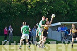 In Action Currow's Seamus Scalon and St. Brendan's Michael O'Sullivan at the  Currow Vs St. Brendans in the Kerry Senior County Football Championship Round 2 at Currow GAA field on Friday