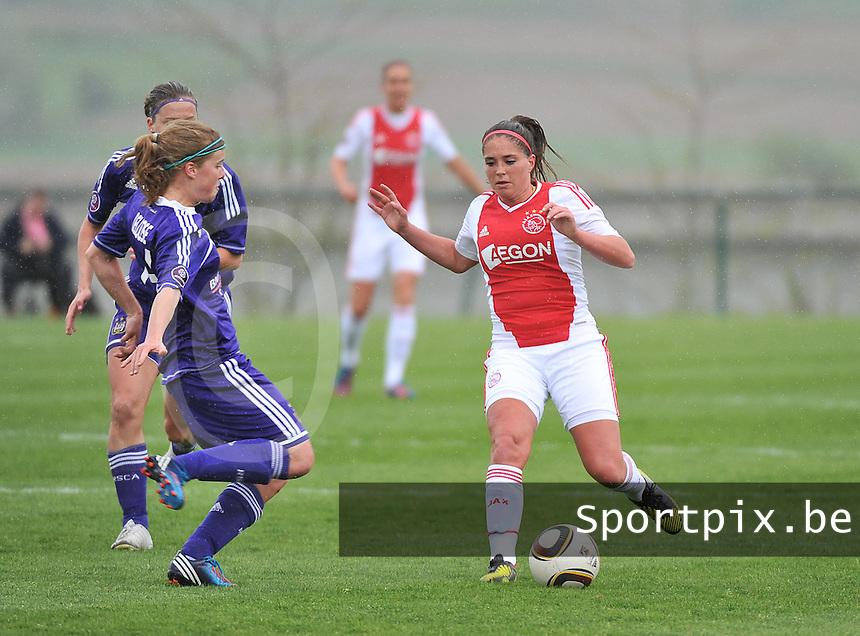 RSC Anderlecht Dames - Ajax Amsterdam : Babiche Roof (rechts) en Laura Deloose.foto DAVID CATRY / Nikonpro.be