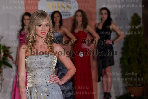 Fanni Papai participates the Miss Hungary beauty contest held in Budapest, Hungary on December 29, 2011. ATTILA VOLGYI
