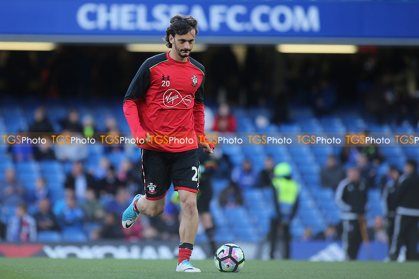 Southampton's Manolo Gabbiadini warms up pre-match during Chelsea vs Southampton, Premier League Football at Stamford Bridge on 25th April 2017